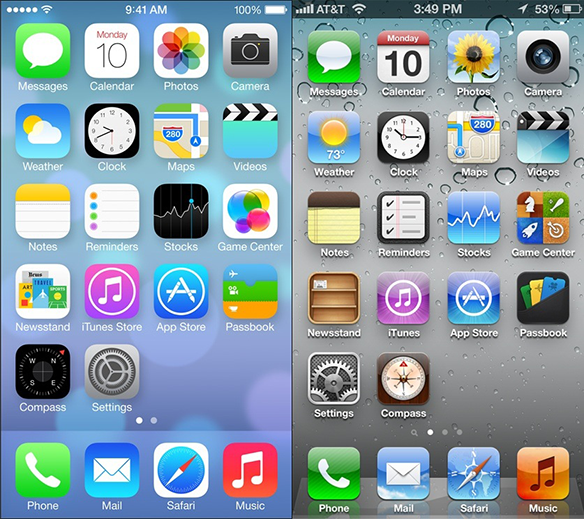 Apple's new iOS7 compared with iOS6.. was it 6?